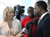 Kasim Reed Photo - July 6 2011 - Atlanta GA - Atlanta Mayor Kasim Reed answers questions from the media about the Atlanta Public School systems cheating scandal Photo credit Dan HarrAdMedia