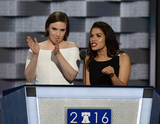 Lena Dunham Photo - Actresses America Fererra right and Lena Dunham left make remarks during the second session of the 2016 Democratic National Convention at the Wells Fargo Center in Philadelphia Pennsylvania on Tuesday July 26 2016 Photo Credit Ron SachsCNPAdMedia