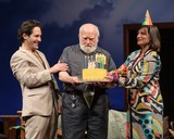 Cake Photo - 15 November 2012 - New York New York - Paul Rudd Ed Asner Paul Rudd surprises Ed Asner with a cake for his 83rd birthday during the curtain call for Grace Photo Credit Mario SantoroAdMedia