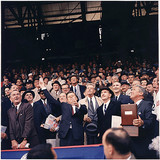 President Kennedy Photo - United States President John F Kennedy throws out first ball at Griffith Stadium in Washington DC on April 101961 (first row) Vice President Lyndon B Johnson President Kennedy Dave Powers Elwood Quesada (second row) Secretary of Health Educationand Welfare (HEW) Abraham Ribicoff Assistant Press Secretary Andrew Hatcher US Senator Hubert Humphrey (Democrat of Minnesota)  US Senator Everett Dirksen (Republican of Illinois)  US Senator Mike Mansfield (Democrat of Montana) (third row) Lawrence OBrien spectators  The Senators lost the game to the Chicago White Sox 4 - 3Photo by Robert KnudsenWhite HouseCNP-PHOTOlinknet