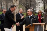 Antony Gormley Photo - New York NY 3232010Mayor Bloomberg introduces artist Antony Gormley at the inauguration of Gormleys new public art installation Event Horizon a collection of thirty-one casts of the artist himself placed in and around Madison Square ParkDigital photo by Andy Lavin-PHOTOlinknet