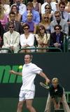 Bjorn Borg Photo - Alpha M041288 02072000 London John Mcenroe in Action Against Bjorn Borg -Nspcc Childrens Charity Tennis Match at Buckingham Palace  London