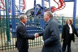 Mayor Bloomberg Photo - Brooklyn NY   Mayor Michael Bloomberg opens Scream Zone  Amusement Park in Coney Island Debut of First New Roller Coasters since the Cyclone opened in 1927 Mayor Bloomberg  Antonio Zamperla            Bruce Cotler              4  20 11  ANTONIO ZAMPERLA and MICHAEL BLOOMBERG