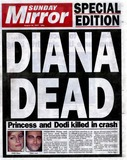 DODI AL-FAYED Photo - 310897 the Front Cover of the Sunday Mirror Newspaper Special Edition Princess Diana and Dodi Al Fayed Killed in Crash Supplied ByalphaGlobe Photos Inc 1997