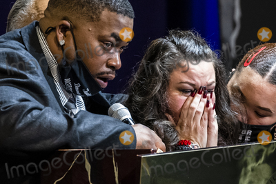 Ministry Photo - Katie Wright is comforted by her daughter Diamond Wright as she pays tribute alongside Aubrey Wright to their son Daunte Wright during his funeral services at Shiloh Temple International Ministries in Minneapolis Minn US on Thursday April 22 2021 Wright was shot by police officer Kimberly Ann Potter who claims she thought she was deploying a taser when Wright attempted to flee as police attempted to place him under arrest for an outstanding warrant during a traffic stop Credit Samuel Corum  CNPAdMedia