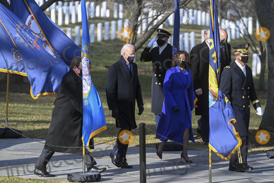 Photo - ARLINGTON VA - JANUARY 20 President Joe Biden and Vice President Kamala D Harris participate in a wreath-laying ceremony at the Tomb of the Unknown Soldier January 20 2021 in Arlington National Cemetery in Arlington VirginiaCredit Katherine Frey - Pool via CNPAdMedia