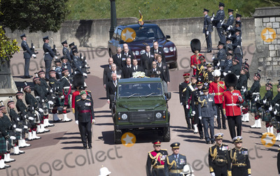 Peter Phillips Photo - Photo Must Be Credited Alpha Press 073074 17042021Queen Elizabeth II Princess Anne Princess Royal Prince Charles Prince of Wales Prince Andrew Duke of York Prince Edward Earl of Wessex Prince William Duke of Cambridge Peter Phillips Prince Harry Duke of Sussex Lord Viscount Linley Earl of Snowdon David Armstrong-Jones Viscount Lord David Linley and Vice-Admiral Sir Timothy Laurence follow Prince Philip Duke of Edinburghs coffin on a modified Jaguar Land Rover during the funeral of Prince Philip Duke of Edinburgh at St Georges Chapel in Windsor Castle in Windsor Berkshire No UK Rights Until 28 Days from Picture Shot Date AdMedia