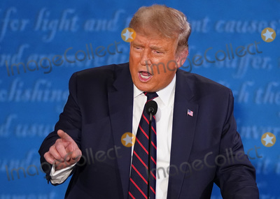 Photo - United States President Donald J Trump speaks during the first of three scheduled 90 minute presidential debates with Democratic presidential nominee Joe Biden in Cleveland Ohio on Tuesday September 29 2020Credit Kevin Dietsch  Pool via CNPAdMedia
