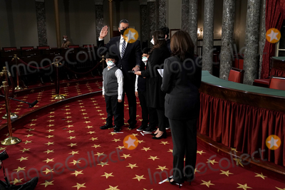 Alex Padilla Photo - Sen Alex Padilla (D-Calif) participates in a ceremonial swearing in photo op with his family and Vice President Harris on Thursday February 4 2021 in the Old Senate Chamber at the US Capitol in Washington DC Padilla was appointed by California Governor Gavin Newsom (D) who replaces Harris as she became Vice President on January 20thCredit Greg Nash  Pool via CNP