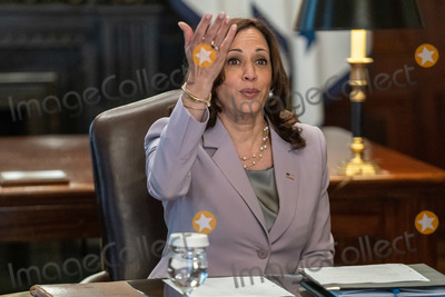 Photo - US Vice President Kamala Harris holds a ceremonial conversation with DACA recipients in the Eisenhower Executive Office Building in Washington DC USA 21 July 2021 Among those in the meeting were Dreamers without DACA and immigrant rights leaders following the Texas District Court decision on DACACredit Ken Cedeno  Pool via CNPAdMedia