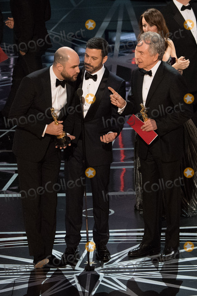 Jordan Horowitz Photo - 26 February 2017 - Hollywood CaliforniaJordan Horowitz Jimmy Kimmel and Warren Beatty on stage during the live ABC Telecast of The 89th Oscars at the Dolby Theatre in Hollywood CA on Sunday February 26 2017 Photo Credit AMPASAdMedia
