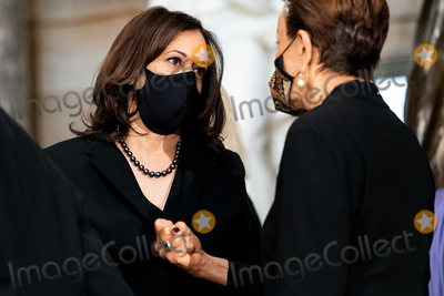 Photo - United States Senator Kamala Harris (Democrat of California) the Democratic Party candidate for US Vice President before a ceremony where Justice Ruth Bader Ginsburg lies in state in Statuary Hall of the Capitol in Washington DC on September 25 2020 Credit Erin Schaff  Pool via CNPAdMedia