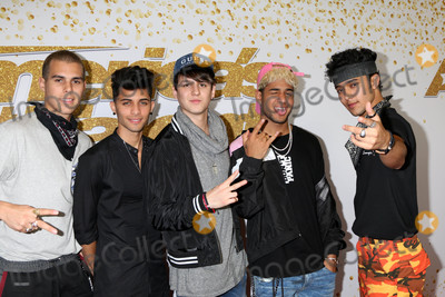 Photo - CNCO  Christopher Velez Richard Camacho Joel Pimentel Zabdiel de Jesus Erick Brian Colonat the Americas Got Talent Season 13 Live Show Red Carpet Dolby Theater Hollywood CA 08-14-18