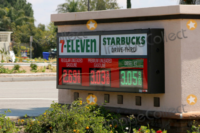 San Bernardino Photo - LOS ANGELES - APR 11  7-Eleven gas signage at the Businesses reacting to COVID-19 at the Hospitality Lane on April 11 2020 in San Bernardino CA