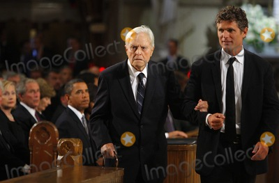 Anthony Kennedy Shriver Photo - Boston MA - August 29 2009 -- Senator Edward Kennedys brother in law Sargent Shriver is escorted to his seat in the church by his son Anthony Kennedy Shriver (R) as US President Barack Obama (3rd L) former President George W Bush (2nd L) and Secretary of State Hillary Clinton (L) look on during funeral services for US Senator Edward Kennedy at the Basilica of Our Lady of  Perpetual Help in Boston Massachusetts August 29 2009  Senator Kennedy died late Tuesday after a battle with cancer    Photo by Brian SnyderPOOL-CNP-PHOTOlinknet
