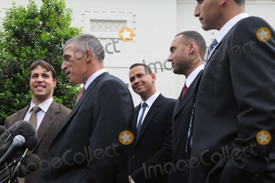 Andy Pettitte Photo - Washington DC 4262010RESTRICTED NEW YORKNEW JERSEY OUTNO NEW YORK OR NEW JERSEY NEWSPAPERS WITHIN A 75 MILE RADIUS OF NYCNew York Yankees at White House(from left)  Mark Teixeira Joe Girardi Alex Rodriguez Derek Jeter and Andy Pettitte spoke with the media outside the West Wing after President Barack Obama met the team in the East Room of the White House  to congratulate the team on their 2009 World Series winDigital photo by Elisa Miller-PHOTOlinknet