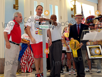 Adam George Photo - July 3 2015 New York CityJoey Chestnut Eric Adams and George Shea at the weigh-in for the annual Nathans Hotdog Eating Contest at Brooklyn Brorough Hall on July 3 2015 in New York CityBy Line Curtis MeansACE PicturesACE Pictures Inctel 646 769 0430