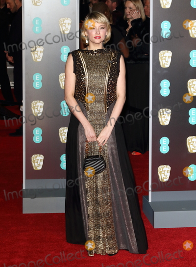 Photo - London UK Haley Bennett at EE British Academy Film Awards 2018 - Red Carpet Arrivals at the Royal Albert Hall London on Sunday February 18th 2018 Ref LMK73 -J1591-190218Keith MayhewLandmark Media WWWLMKMEDIACOM
