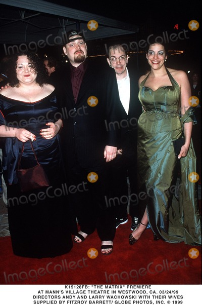 ANDY  LARRY WACHOWSKI Photo - 032499 the Matrix Premiere at Manns Village Theatre in Westwood CA Directors Andy and Larry Wachowski with Their Wives Supplied by Fitzroy BarrettGlobe Photos Inc