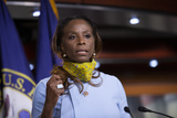 The Virgins Photo - United States Delegate Stacey PLaskett (Democrat of the Virgin Islands) speaks during a news conference with Speaker of the United States House of Representatives Nancy Pelosi (Democrat of California) regarding the vote by mail provision in the Heroes Act at the United States Capitol in Washington DC US on Thursday May 21 2020 Credit Stefani Reynolds  CNPAdMedia