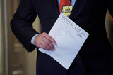 Donald Trump Photo - Jason Miller advisor to former President Donald Trump is seen carrying a witness list in the Senate Reception Room on during the fifth day of the impeachment trial of former President Donald Trump on Saturday February 13 2021Credit Greg Nash - Pool via CNPAdMedia