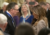 Keane Photo - United States Army General John M Jack Keane (retired) left and first lady Melania Trump right following the ceremony where US President Donald J Trump presented him with the Presidential Medal of Freedom in the East Room of the White House in Washington DC on Tuesday March 10 2020  Keane is a former Vice Chief of Staff of the US Army and is a Fox News national security analystCredit Ron Sachs  CNPAdMedia