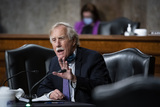 Angus King Photo - United States Senator Angus King Jr (Independent of Maine) speaks during a Senate Armed Services Committee confirmation hearing for Kenneth Braithwaite US President Donald J Trumps nominee for navy secretary in Washington DC US on Thursday May 7 2020 Committee members may ask Braithwaite whether achieving the administrations goal of a 355-ship fleet over the next decade up from 299 today is realistic in light of cost constraintsCredit Al Drago  Pool via CNPAdMedia