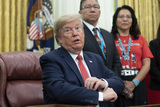 alaska Photo - United States President Donald J Trump signs an Executive Order Establishing the Task Force on Missing and Murdered American Indians and Alaska Natives in the Oval Office of White House in Washington DC on Tuesday November 26 2019Credit Chris Kleponis  Pool via CNPAdMedia