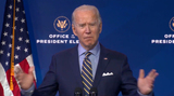 Queen Photo - United States President-elect Joe Biden delivers brief remarks from the Queen Theatre in Wilmington Delaware on Monday December 28 2020Credit Biden Transition TV via CNPAdMedia