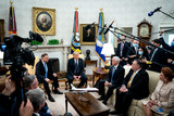 White House Photo - United States President Donald J Trump and Polish PresidentAndrzej Duda during a bilateral meeting in the Oval Office of the White House in Washington DC on June 24 2020 From left to right President Duda President Trump US Vice President Mike Pence US Secretary of State Mike PompeoCredit Erin Schaff  Pool via CNPAdMedia