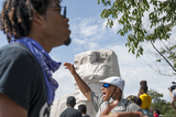 Martin Luther King Photo - People brave the extreme Summer heat to chant and gather at the Martin Luther King Jr Memorial following the Get Your Knee Off Our Necks March on Washington at the Lincoln Memorial in Washington DC Friday August 28 2020 Credit Rod Lamkey  CNPAdMedia