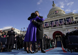 Supremes Photo - Vice President Kamala Harris hugs as her husband Doug Emhoff after she was sworn in by Supreme Court Justice Sonia Sotomayor during the 59th Presidential Inauguration at the US Capitol in Washington Wednesday Jan 20 2021 (AP PhotoAndrew Harnik Pool)AdMedia