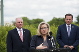 House Speaker Nancy Pelosi Photo - House GOP Conference Chairwoman Liz Cheney (R-WY) offers remarks as she is joined by House Minority Leader Rep Kevin McCarthy (R-Calif left) House Minority Whip Rep Steve Scalise (R-LA) and others to announce that Republican leaders have filed a lawsuit against House Speaker Nancy Pelosi and congressional officials in an effort to block the House of Representatives from using a proxy voting system to allow for remote voting during the coronavirus pandemic outside of the US Capitol in Washington DC Wednesday May 27 2020 Credit Rod Lamkey  CNPAdMedia