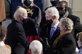 Bill Clinton Photo - President Joe Biden talks with former Presidents George Bush and Bill Clinton after the 59th Presidential Inauguration at the US Capitol in Washington Wednesday Jan 20 2021 (AP PhotoPatrick Semansky PoAdMedia