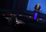 CHRIS WALLACE Photo - United States President Donald J Trump speaks with moderator Chris Wallace during the first of three scheduled 90 minute presidential debates with Democratic presidential nominee Joe Biden in Cleveland Ohio on Tuesday September 29 2020Credit Kevin Dietsch  Pool via CNPAdMedia