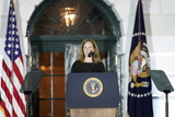 Supreme Court Photo - Amy Coney Barrett makes remarks after being sworn-in as Associate Justice of the US Supreme Court at the White House in Washington DC October 26 2020 Credit Chris Kleponis  Pool via CNPAdMedia