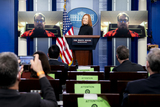 White House Photo - Jen Psaki White House press secretary listens as a reporter asks a question via video during a news conference in the James S Brady Press Briefing Room at the White House in Washington DC US on Friday April 9 2021 The US is expected to almost triple its wind and solar capacity over the next 10 years but that still wont be enough to meet President Bidens goal of fully decarbonizing the countrys power system by 2035 Credit Stefani Reynolds  Pool via CNPAdMedia