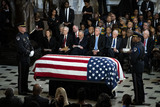 Elijah Cummings Photo - The American flag-draped casket of late United States Representative Elijah Cummings (Democrat of Maryland) sits in National Statuary Hall during a memorial service at the US Capitol in Washington DC US on Thursday Oct 24 2019 Cummings a key figure in Democrats impeachment inquiry and a fierce critic of US President Donald J Trump died at the age of 68 on October 17 due to complications concerning long-standing health challenges Seated behind the casket from left to right Speaker of the US House of Representatives Nancy Pelosi (Democrat of California) US Senate Majority Leader Mitch McConnell (Republican of Kentucky) US Senate Minority Leader Chuck Schumer (Democrat of New York) US House Minority Leader Kevin McCarthy (Republican of California) US House Majority Leader Steny Hoyer (Democrat of Maryland) US House Assistant Democratic Leader James Clyburn (Democrat of South Carolina) and US Senator Ben Cardin (Democrat of Maryland)Credit Al Drago  Pool via CNPAdMedia