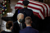 The Used Photo - United States President Joseph R Biden Jr speaks with a colleague of US Capitol Police officer William Billy Evans during a lying in honor ceremony in the Rotunda of the US Capitol in Washington DC on Tuesday April 13 2021 Amr AlfikyThe New York TimesCredit Amr Alfiky  Pool via CNPAdMedia