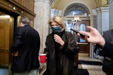 Lisa Murkowski Photo - Senator Lisa Murkowski a Republican from Alaska wears a protective mask while arriving to the US Capitol in Washington DC US on Saturday Feb 13 2021 The Senate voted to consider a request for witnesses at Donald Trumps impeachment trial injecting a chaotic new element that could end up prolonging proceedings that appeared to be on track to wrap up today Credit Stefani Reynolds - Pool via CNPAdMedia