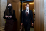 Josh Hawley Photo - Senator Josh Hawley a Republican from Missouri right wears a protective mask while departing the US Capitol in Washington DC US on Saturday Feb 13 2021 Donald Trumps second impeachment trial ended in a not guilty verdict on a vote of 57-43 short of the two-thirds majority requiredCredit Stefani Reynolds - Pool via CNPAdMedia