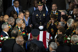 American Flag Photo - Members of the Congressional Black Caucus pause at the American flag-draped casket of late United States Representative Elijah Cummings (Democrat of Maryland) during a memorial service in National Statuary Hall at the US Capitol in Washington DC US on Thursday Oct 24 2019 Cummings a key figure in Democrats impeachment inquiry and a fierce critic of US President Donald J Trump died at the age of 68 on October 17 due to complications concerning long-standing health challenges Credit Al Drago  Pool via CNPAdMedia
