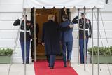 Juanes Photo - United States President Donald J Trump left walks into the White House with Venezuelan opposition leader Juan Guaido in Washington DC US on Wednesday February 5 2020Credit Stefani Reynolds  CNPAdMedia