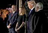 Supremes Photo - From left to right Jesse Barrett  Judge Amy Coney Barrett United States President Donald J Trump and Associate Justice of the Supreme Court Clarence Thomas during the ceremony where Judge Barrett took the oath of office outside the Diplomat Room of the White House in Washington DC US October 26 2020 Credit Ken CedenoPool via CNPAdMedia