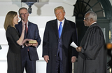 The Ceremonies Photo - United States President Donald J Trump participates in the ceremonial swearing-in of Amy Coney Barrett as Supreme Court at the White House in Washington DC October 26 2020 Credit Chris Kleponis  Pool via CNPAdMedia
