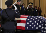Alex Wong Photo - Honor guard salute to the flag-draped casket of United States Representative Elijah Cummings (Democrat of Maryland) as the late congressman lies in state outside the US House chamber at the US Capitol October 24 2019 in Washington DC Rep Cummings passed away on October 17 2019 at the age of 68 from complications concerning longstanding health challenges Credit Alex Wong  Pool via CNPAdMedia