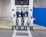 The Interns Photo - From left to right ESA (European Space Agency) astronaut Thomas Pesquet NASA astronauts Megan McArthur and Shane Kimbrough and Japan Aerospace Exploration Agency (JAXA) astronaut Akihiko Hoshide wearing SpaceX spacesuits are seen as they prepare to depart the Neil  A Armstrong Operations and Checkout Building for Launch Complex 39A to board the SpaceX Crew Dragon spacecraft for the Crew-2 mission launch Friday April 23 2021 at NASAs Kennedy Space Center in Florida NASAs SpaceX Crew-2 mission is the second crew rotation mission of the SpaceX Crew Dragon spacecraft and Falcon 9 rocket to the International Space Station as part of the agencys Commercial Crew Program Kimbrough McArthur Pesquet and Hoshide are scheduled to launch at 549 am EDT  Mandatory Credit Aubrey Gemignani  NASA via CNPAdMedia