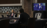 Booker Photo - United States Senator Cory Booker (Democrat of New Jersey) questions Judge Justin Reed Walker as Booker is broadcast by video link to colleagues attending remotely because of the outbreak of coronavirus disease (COVID-19) during Walkers US Senate Judiciary Committee confirmation hearing to be a US Circuit Court judge for the District of Columbia Circuit held on Capitol Hill in Washington US May 6 2020 Credit Jonathan Ernst  Pool via CNPAdMedia