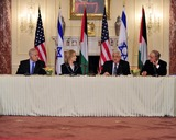 Benjamin Netanyahu Photo - President Mahmoud Abbas of the Palestinian Authority makes remarks at the Relaunch of Direct Negotiations Between the Israelis and Palestinians in the Benjamin Franklin Room of the US Department of State on Thursday September 2 2010  From left to right Prime Minister Benjamin Netanyahu of Israel United States Secretary of State Hillary Rodham Clinton President Mahmoud Abbas of the Palestinian Authority and US Special Envoy to the Middle East George MitchellCredit Ron Sachs  CNP(RESTRICTION NO New York or New Jersey Newspapers or newspapers within a 75 mile radius of New York City)