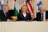 ABBA Photo - Washington DC 9022010RESTRICTED NEW YORKNEW JERSEY OUTNO NEW YORK OR NEW JERSEY NEWSPAPERS WITHIN A 75  MILE RADIUSSecretary Clinton hosts Abbas and Netanyahu peace talksSecretary of State Hillary Clinton hosts the re-launch of direct negotiations between Israeli Prime Minister Benjamin Netanyahu and Palestinian Authority President Mahmoud Abbas at the US State Department (center) Secretary Clinton (left) Netanyahu and (right) Abbas after opening remarks marking the start of the negotiationsDigital photo by Elisa Miller-PHOTOlinknet